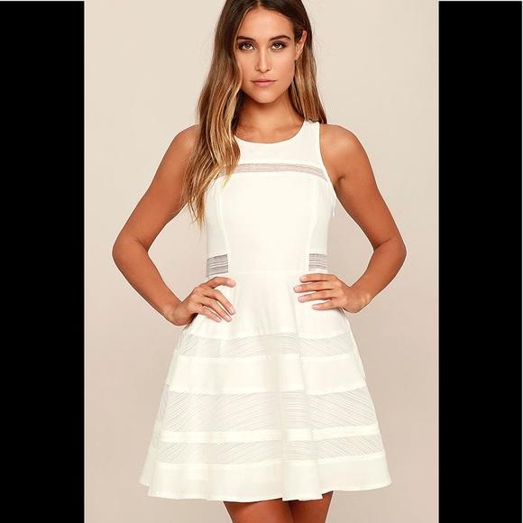 e1b5336c0c Lulu s Play Nice Ivory Skater Dress